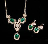 Emerald Green and White Crystal Necklace and Earrings Set, Art Nouveau style with sinuous lines