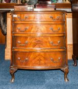 Early To Mid 20thC Walnut Chest Of Drawers, Bow Fronted Form With 4 Graduating Drawers Raised On