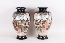A Japanese Pair of Large and Impressive Hand Finished Satsuma Vases. Meiji Period. Signed to