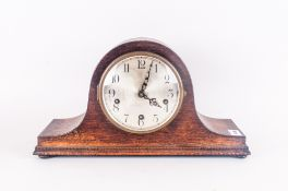 Wooden Cased Napoleon Shaped Mantle Clock, silvered chapter ring with Arabic numerals, 16.25'' in