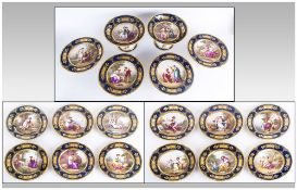 Royal Vienna Signed, Hand Painted and Gilded Eighteen Piece Dessert Service comprising twelve