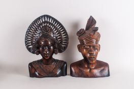 Tribal Art Carved Wooden Balinese Sculptures Depicting The Bust Of A Tribal Woman & Man . Made in