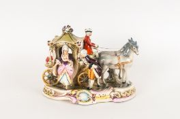 German Mid 19thC Ceramic Group Figure. 'Coach and Horses with Figures in 19thC dress. 6.75 inches