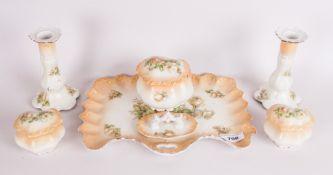Blush Ivory Coloured Porcelain Seven Piece Trinket Set
