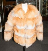 Ladies Red Fox Fur Jacket, fully lined, slight damage to lining.
