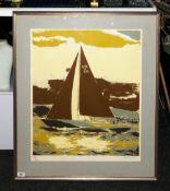 Robert Jones - Artist Signed Ltd Edition and Numbered Screen Print, Num.82-250 ' Sailing Boat of