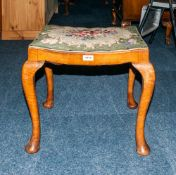 Late 19th/Early 20thC Piano Stool With Cushioned Floral Tapestry Seat