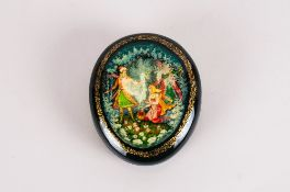 Father Frost and The Maiden Fine Quality Oval Russian Lacquer Table Box.