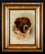 Florence Robinson 1874-1937 Lancashire Artist 'Saint Bernard' oil on canvas, signed & dated 1897.