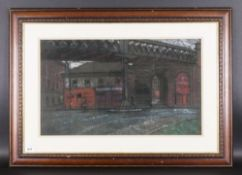 John Mackie 1953 - Early 1980's Study of an Unused Train Station In Glasgow. Pastel, Signed. Mounted