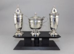 Elizabeth II Silver 3 Piece Cruet Set, Fully Complete and In Fine Condition.