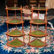 A Pair of 20th Century 4 Tier Turned Wooden Column Whatnots. Each Standing 40.5 Inches High.