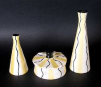 Midwinter Clayburn Factory - Jessie Tait Design 4 Piece Cruet Set, Yellow and Black Wavy Line