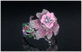 Pink and White Crystal Corsage Style Bangle, a hinged bangle with a pink enamel, graduated pink