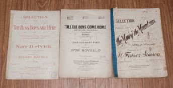 Four Pieces Of Sheet Music, one titled 'Till The Boys Come Home' keep the home fires buring, By Ivor