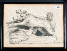 Rob Butler Framed Pencil Sketch Depicting A Muscular Middle Eastern Holding Back 2 Hunting Dogs,