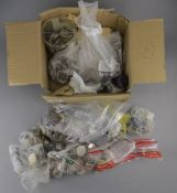 Box Containing Foreign Coins and a Few Notes, Mostly Sorted by Country. Charitable Donation, So