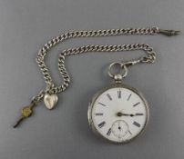 Victorian Large Silver - Key wind Open Faced Pocket Watch with Attached Silver Albert Chain.