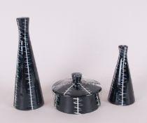 Midwinter Clayburn Factory - Jessie Tait Design 4 Piece Cruet Set, Black and White Zig Zag Pattern.