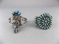 North American - Native Indian Finely Handmade Sterling Silver Bangles, Set with Turquoise Stones.