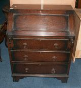 Early 20thC Dark Oak Bureau, Fall Front With Fitted Interior Above 3 Long Drawers, Raised On Bracket