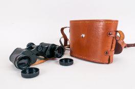 Ajax 8x30 Binoculars in tan leather case