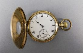 American Watch Co Gold Plated Demi Hunter Pocket Watch,