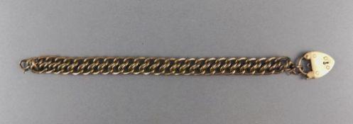 Edwardian 9ct Gold Fancy Triple Link Bracelet, with Large Heart Shaped Padlock.