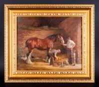 Ruth Gibbons 1945 - Blacksmiths Horse, Changing a Shire horses Shoe - Oil on Canvas. Signed. 9.5 x