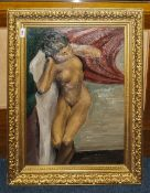 Early 20thC Oil On Board Depicting A Reclining Nude, Unsigned, Marked To Back I Hardcastle