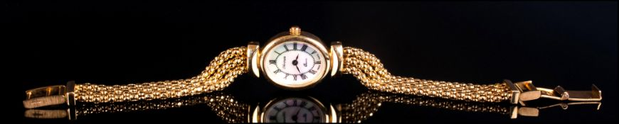 Veronese 18ct Gold Plated Silver Watch, mother-of pearl dial with Roman numerals, three strand