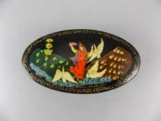 Russian Signed Oval Shaped Lacquered Lidded Box. Mid 19th Century. 5 Inches Diameter.