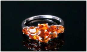 Madeira Citrine Ring, oval cuts of the deep, rich Madeira citrine, totalling 1.