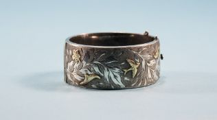 Broad Silver Hinged Bangle, The Front With Engraved And Etched Foliage Decoration With Raised Gilt