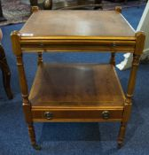 Small Square Occasional Table With Leather Topped Brush Slide And Single Drawer To Base, Raised On