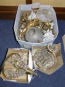 Collection Of Early To Mid 20thC Light Fittings, Brass Framed With A Quantity Of Prisms,