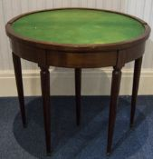 Victorian Rosewood Demi  Lune Card Table The Foldover Top With Later Inlay Work Raised On Turned