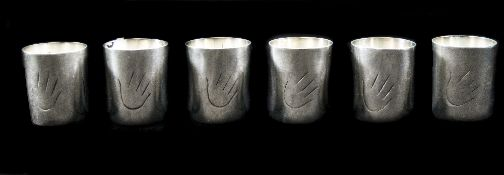 Mexican Sterling Silver Set of Five Drinking Tots marked sterling. Each 1.75 inches high. 2.