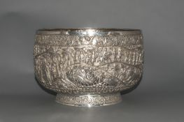 Burmese 19th Century Very Fine Repousse and Impressive Large Scale, Silver Footed Bowl with Highly