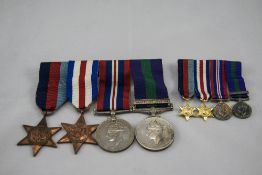 4 WW2 Medals On Bar With 4 Miniatures On Bar, Palestine 1945 -48 (inscribed to edge 3663559 SPR J