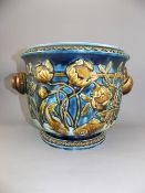 Austrian - 19th Century Very Fine Snail Twin Handle Majolica Jardiniere, Decorated with Embossed