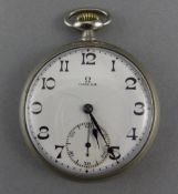 Omega - 15 Jewells White Metal Cased - Keyless 1920's Open Faced Pocket Watch with Porcelain White