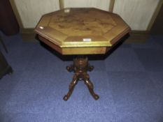 Italian Mahogany Occasional Table Octagonal Top With Maple Inlay Raised On A Turned Column And 4