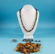 Bag of Loose Amber Beads, organic shapes in shades from butterscotch to dark toffee,