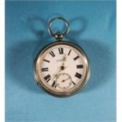 Victorian Key Wind Silver Open Faced Pocket Watch. Hallmark Chester 1896.