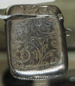 Edwardian Silver Vesta Case with Chased Decoration to Both Side of Case and Vacant Cartouche.