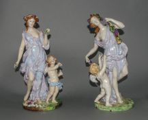Meissen - Fine Pair of 19th Century Porcelain Figurines of Venus with Attendant Cherubs.