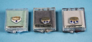 3 Boxed 10ct Gold & Sapphire Kellogg's Service Pins