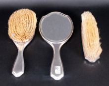 Ladies - Fine 3 Piece Silver and Tortoiseshell Vanity Set. Comprises Hand Mirror and Two Brushes.