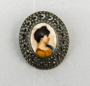 Silver Marcasite Brooch With Central Plaque Depicting A Young Maiden,